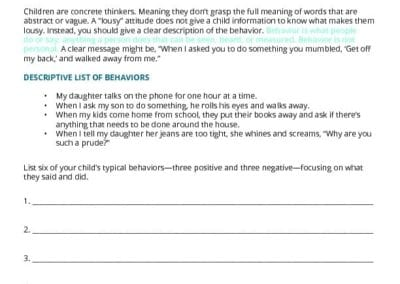 Describing Behavior Worksheet