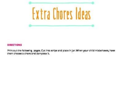 Correcting Behaviors: Extra Chore Ideas