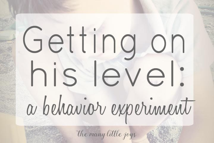 Getting on his level: a behavior experiment