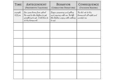 ABCs of Behavior Worksheet